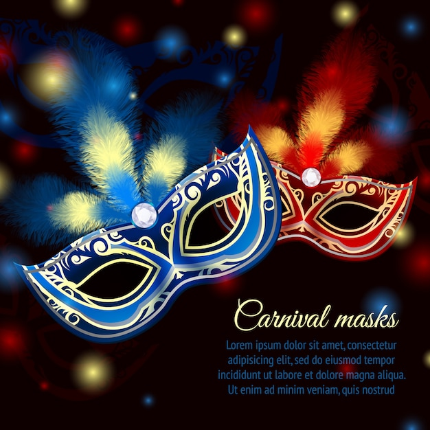 Venetian carnival mardi gras colorful party mask on dark sparkling background template Free Vector