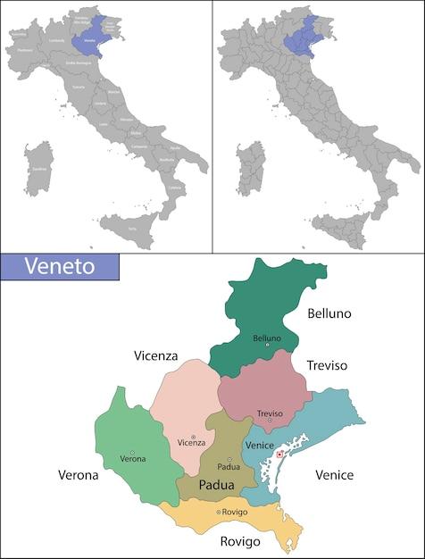 ヴェネトは、国の北東にあるイタリアの20の行政区域の1つです。 Premiumベクター