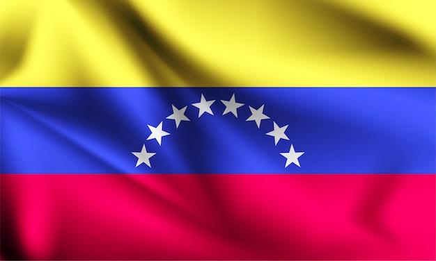 Венесуэла флаг развевается на ветру. Premium векторы