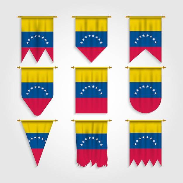 Флаг венесуэлы в различной форме Premium векторы