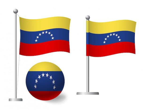 Флаг венесуэлы на значок полюса и мяча Premium векторы