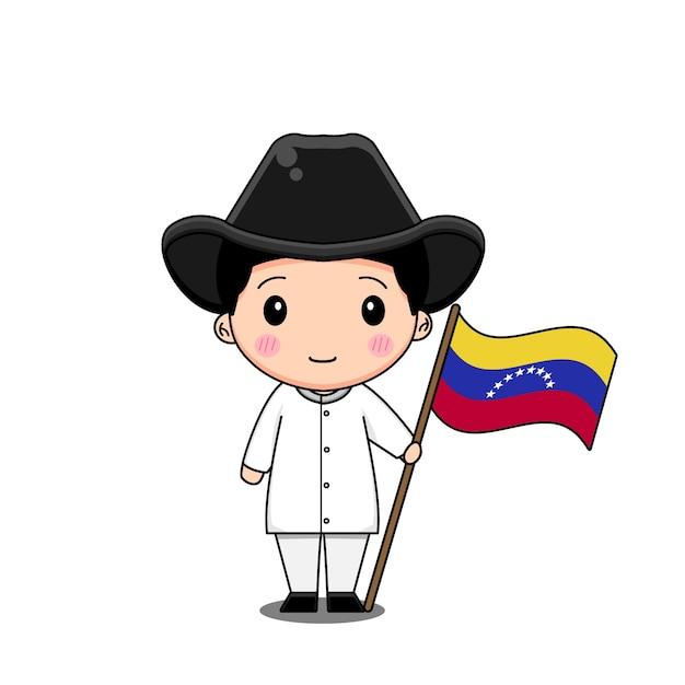 Венесуэла в национальном платье с флагом Premium векторы