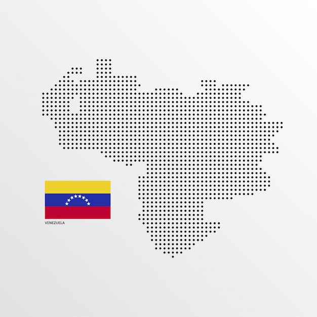 Venezuela map design with flag and light background vector Free Vector