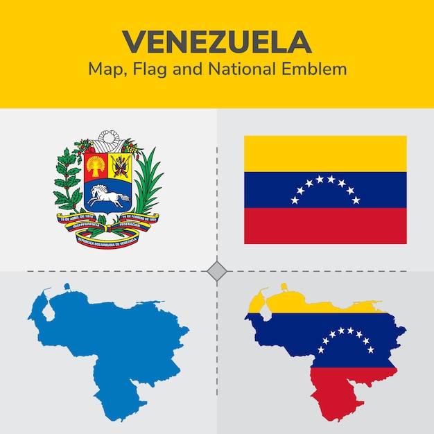 Venezuela map, flag and national emblem Vector | Premium ...