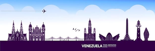Венесуэла путешествия назначения векторные иллюстрации. Premium векторы