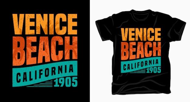 Венис-бич, калифорния, типография для дизайна футболки Premium векторы