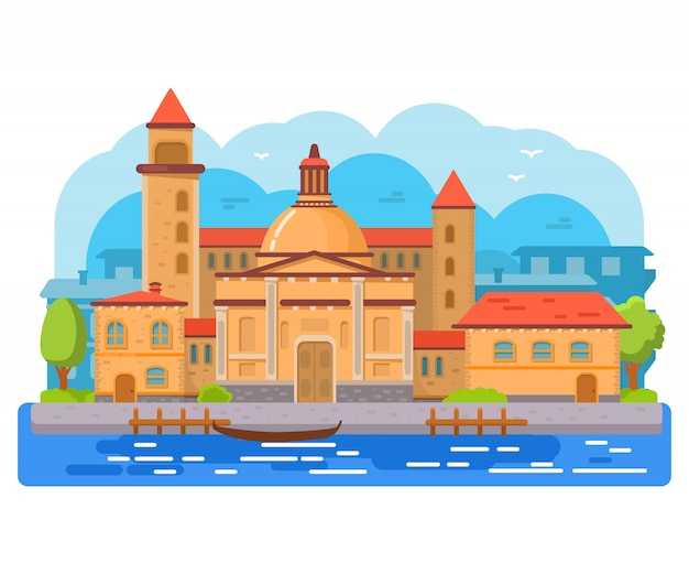 イタリアのヴェネツィアのゴンドラ。古代の建物と街並み。大聖堂と塔。 Premiumベクター