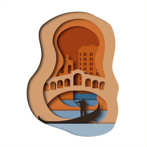 Venice paper art style Premium Vector