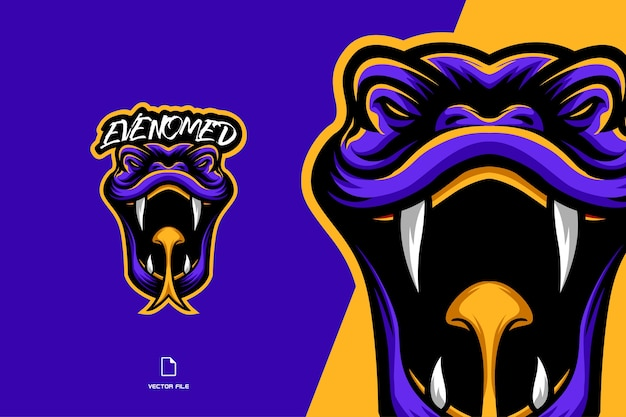 Ядовитая змея голова талисман персонаж мультфильма логотип иллюстрации Premium векторы