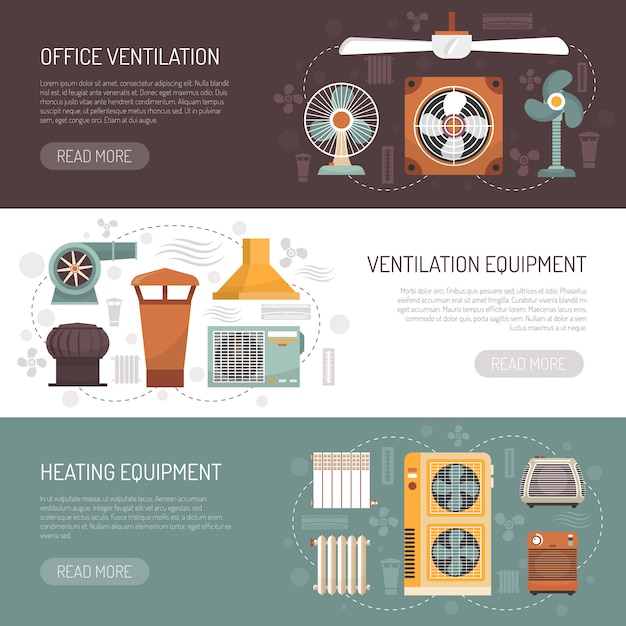 Ventilation conditioning and heating banners Free Vector