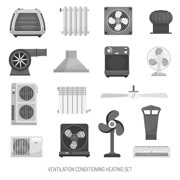 Ventilation conditioning heating set Free Vector