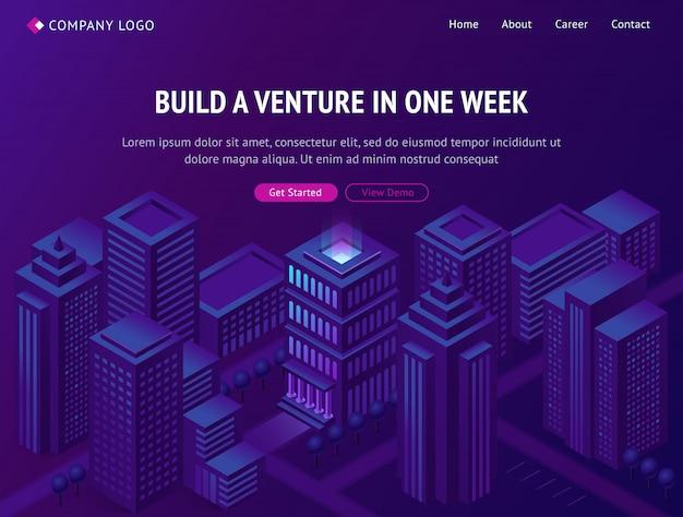 Venture business company building service landing Free Vector