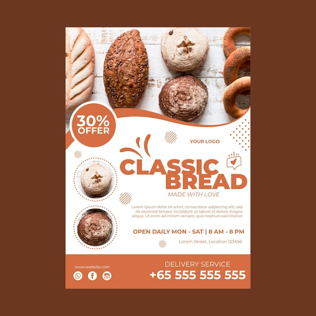 Verical poster template for pastry shop Premium Vector