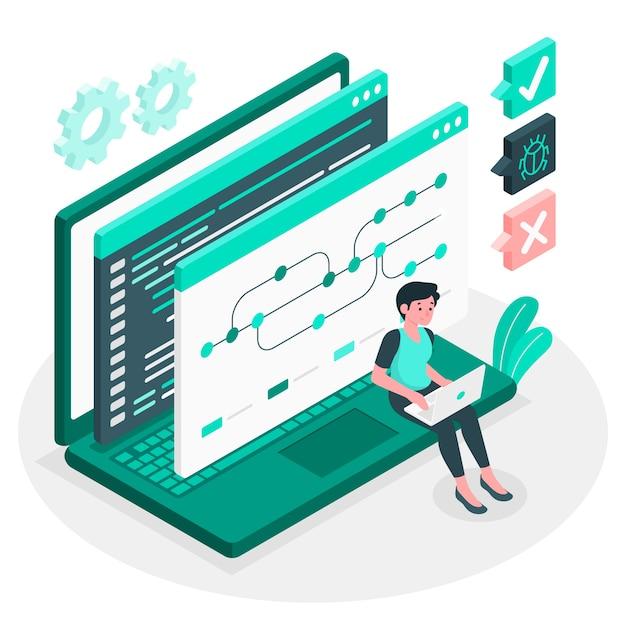 バージョン管理の概念図 無料ベクター