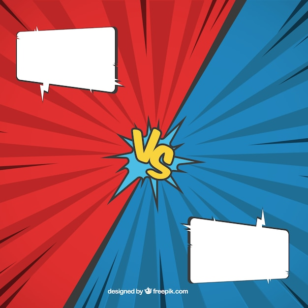 Versus Comic Background With Speech Bubbles And Versus