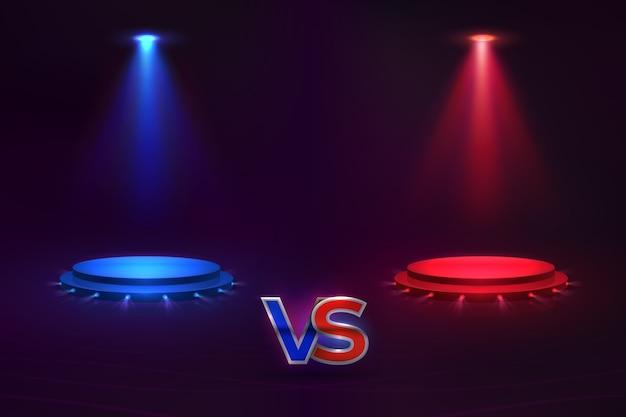 対コンセプト。輝く台座ホログラム、ゲームマッチ総合格闘技大会。対チャンピオンシップテンプレート Premiumベクター