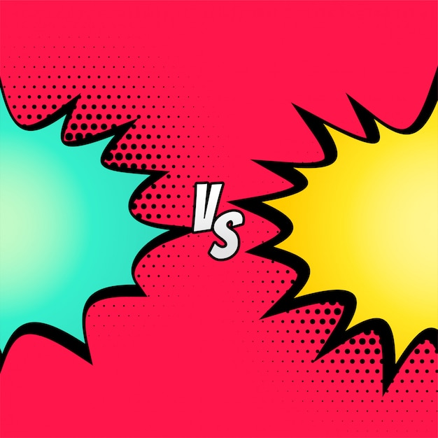 Versus fight comic style background Free Vector