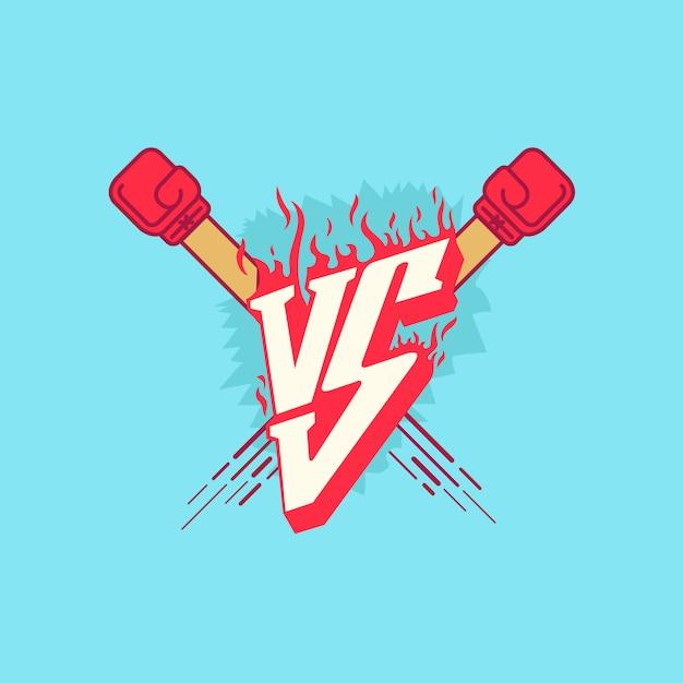 Versus fight эмблема с огнем Premium векторы