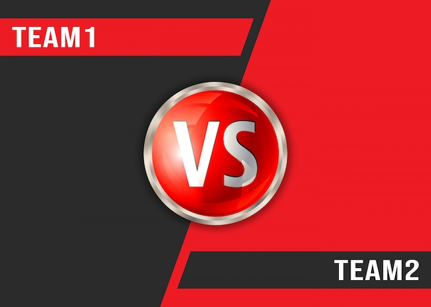 Versus red and black background. vs screen display template Premium Vector