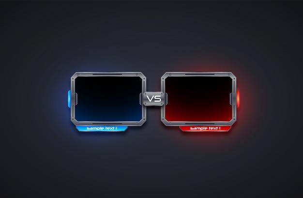 Против дизайна экрана шаблон рамы, битва, спорт, игра, бой. футуристическая иллюзия. Premium векторы