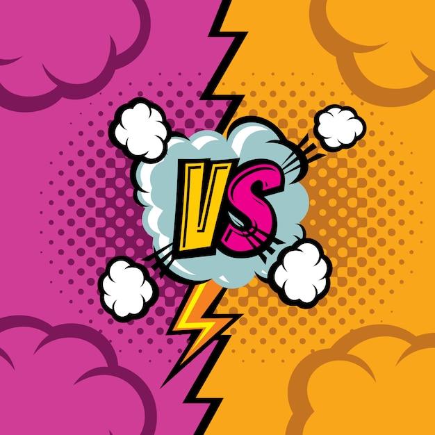 Versus vector cartoon comic book background. fighting duel championship retro art Premium Vector