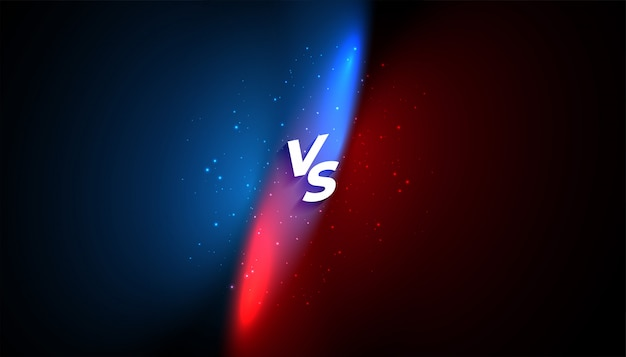 Versus vs banner  with blue and red light effect Free Vector
