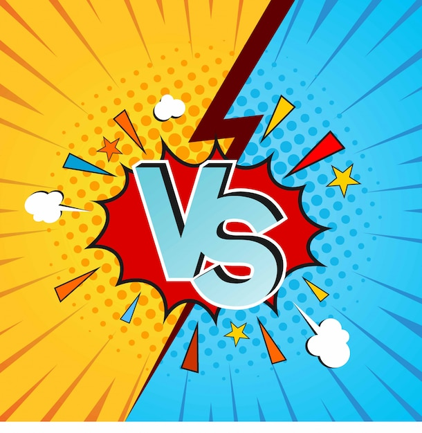 Versus vs letters fight backgrounds in flat comics style design with halftone Premium Vector