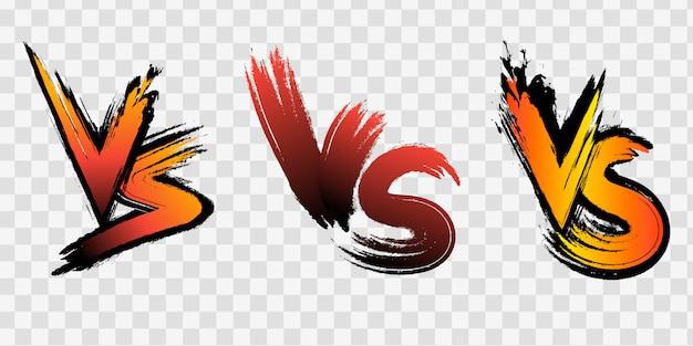 対vsの文字は、ハーフトーン、稲妻でフラットなコミックスタイルのデザインで背景と戦います。図 Premiumベクター