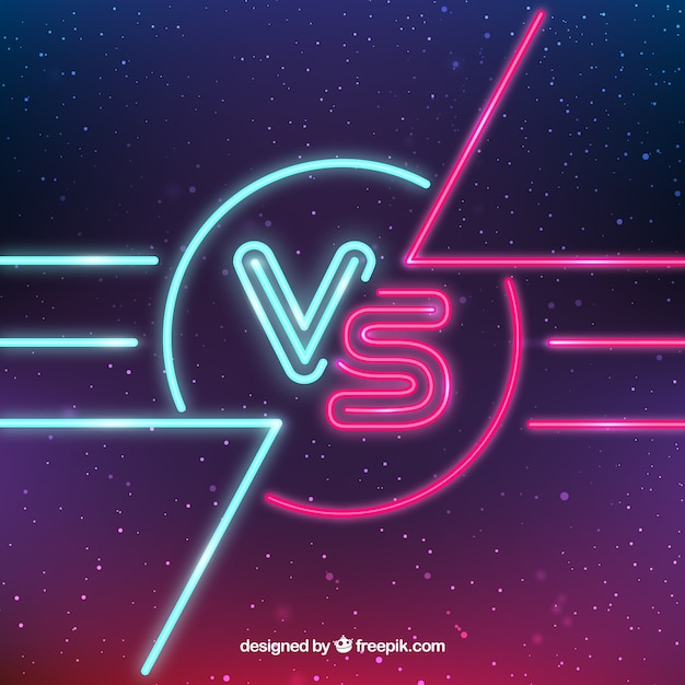 Versus with neon lights and space style Free Vector