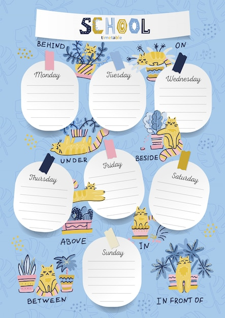 Vertical a4 schedule for kids with sheet stickers with space for notes Premium Vector