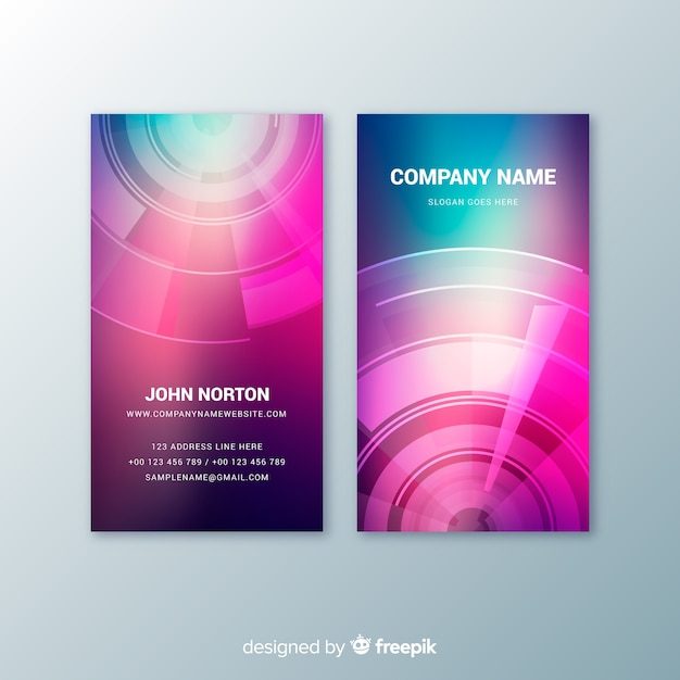 Vertical abstract colorful gradient business card Free Vector