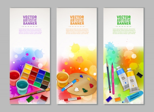 Vertical artistic banners collection Free Vector
