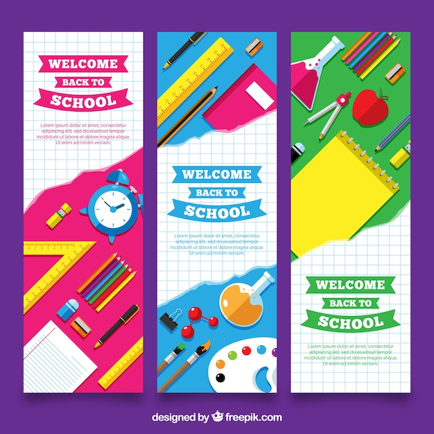 Vertical back to school banners Free Vector