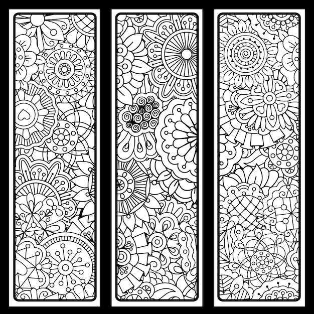 Vertical backgrounds set with doodle style Premium Vector
