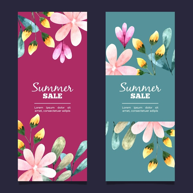 Vertical banner collection for sale with watercolor flowers Free Vector