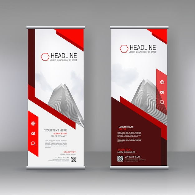 Vertical banner stand template design Premium Vector