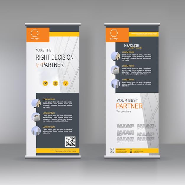 Vertical banner stand template design Premium Vector