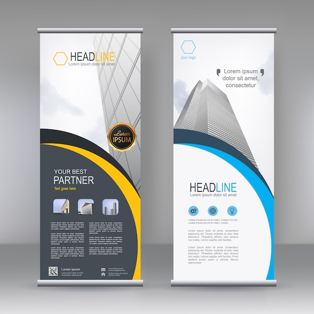 Vertical banner stand template Premium Vector