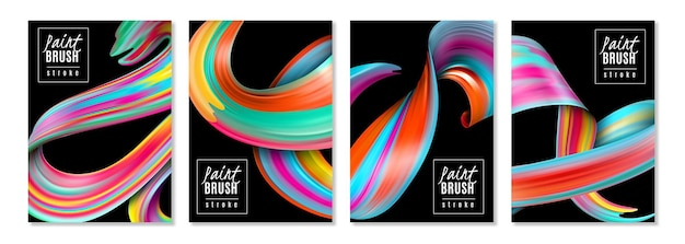 Vertical banners colorful brush strokes of oil or acrylic paints on black  isolated Free Vector