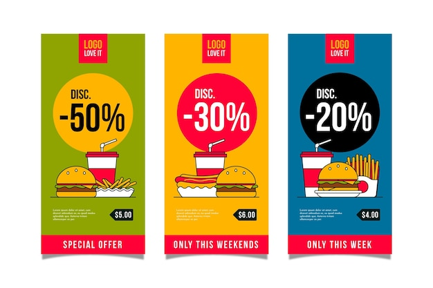Vertical banners for combo offers Premium Vector