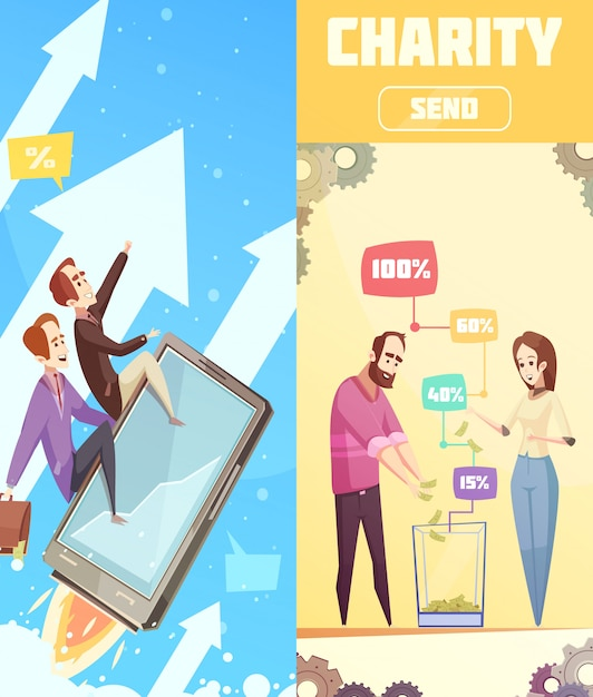 Vertical banners of crowdfunding theme Free Vector