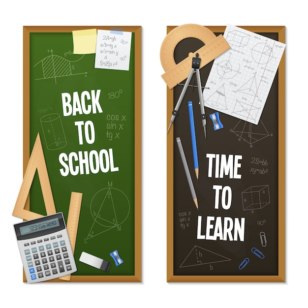 Vertical banners mathematic science Free Vector