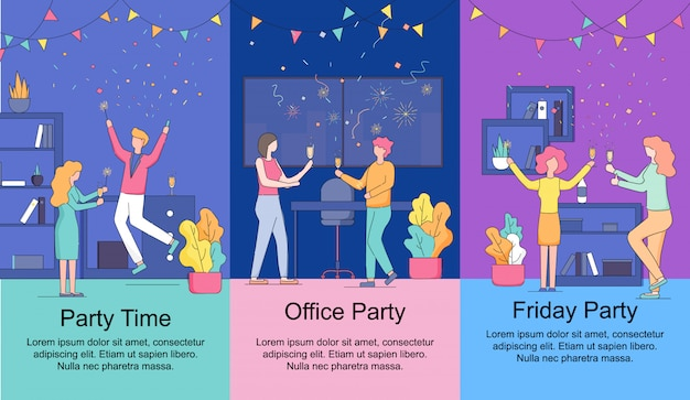 Vertical banners set. friday office party time. Premium Vector