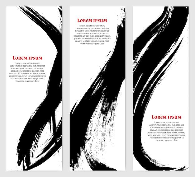 Вертикальные баннеры в современном азиатском стиле. черные грубые мазки. шаблон для текста. Premium векторы