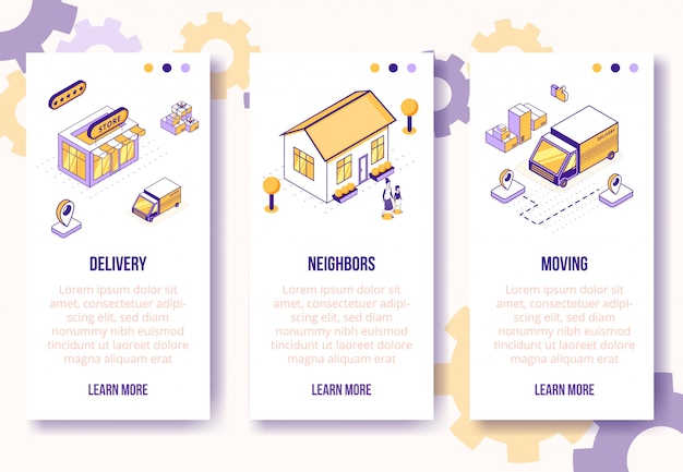Vertical banners template. isometric social business scenes-house, people characters, truck, boxes on banner page web online concept Premium Vector