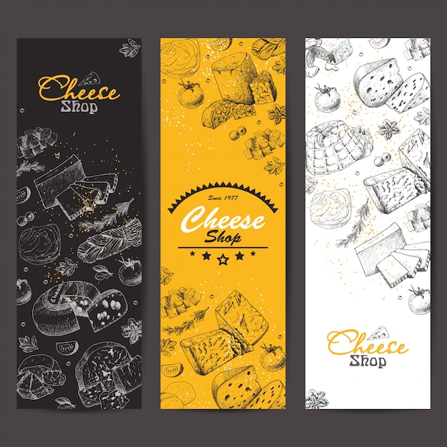 Vertical banners with cheeses Premium Vector