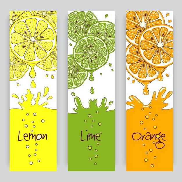 Вертикальные баннеры с цитрусовыми. лимонный, лаймовый и апельсиновый сок Бесплатные векторы