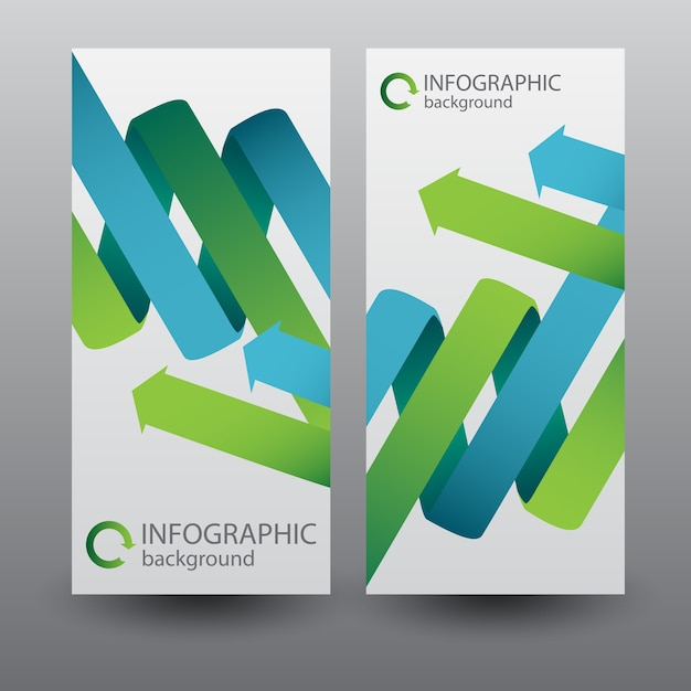 Vertical banners with green and blue curved ribbon arrows Free Vector