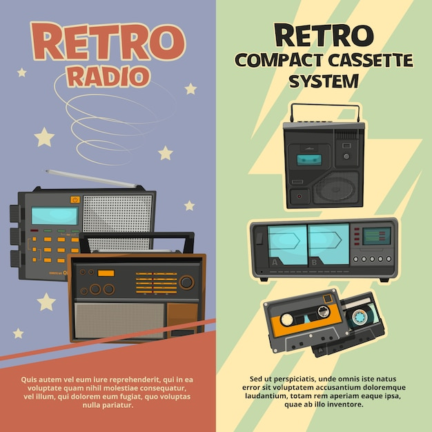 Vertical banners with illustrations of vintage recorders and radios Premium Vector