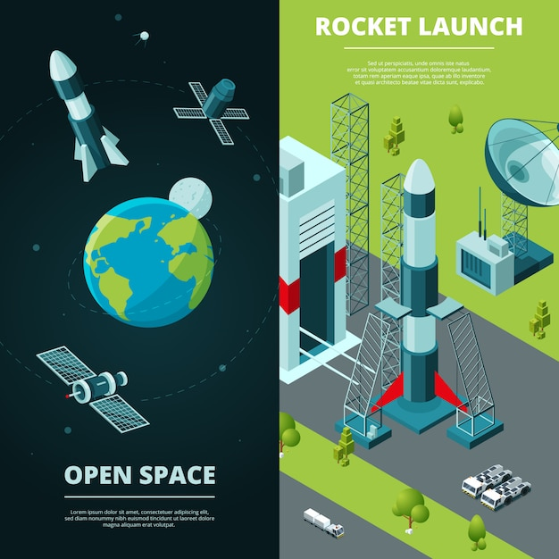 Vertical banners with pictures of space travel and launch pad in spaceport Premium Vector
